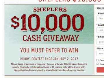 Instant Cash Giveaway Sweepstakes - sheplers 10 000 cash giveaway sweepstakes