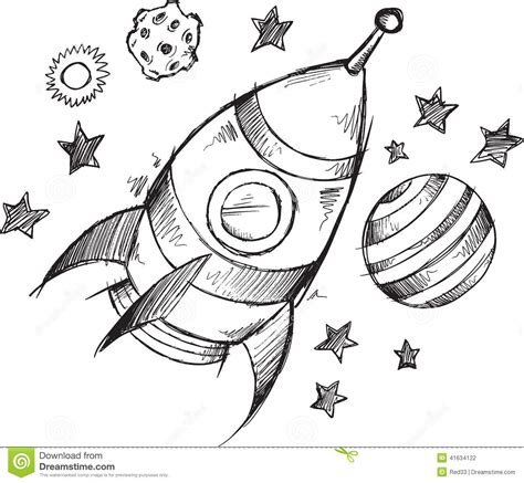 doodle and sketchbook a coloring activity and doodle book for of all ages books rocket space doodle sketch vector stock vector image