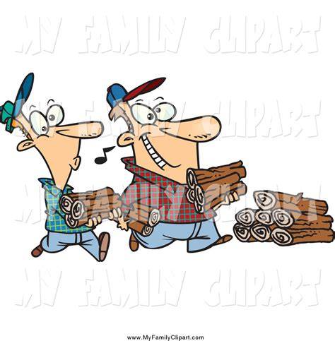 father and son cartoon clip art of a cartoon white father and son carrying wood