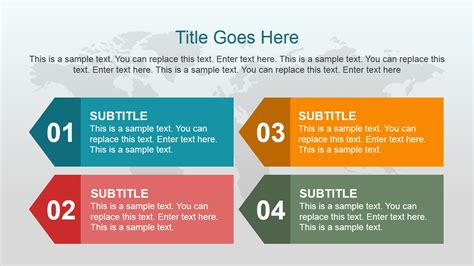 classic powerpoint templates 4 text boxes with left arrow and world map slidemodel