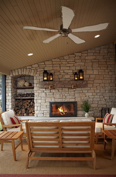 rustic fireplace mantels Patio Farmhouse with beige
