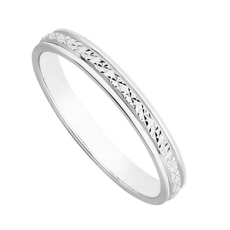 9ct white gold one row sparkle cut wedding ring