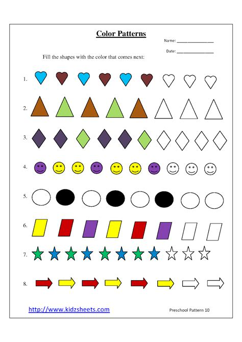 color pattern worksheets for kindergarten kidz worksheets preschool color patterns worksheet10