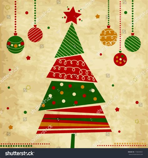 christmas cards shutterstock vintage card tree ornaments stock vector 110644931