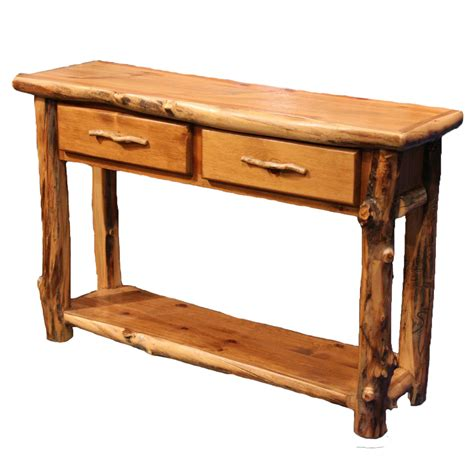 sofa table with drawers and shelf aspen log furniture aspen 2 drawer sofa table with shelf