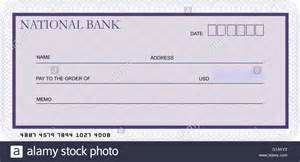 blank bank cheque template in shades of violet stock photo