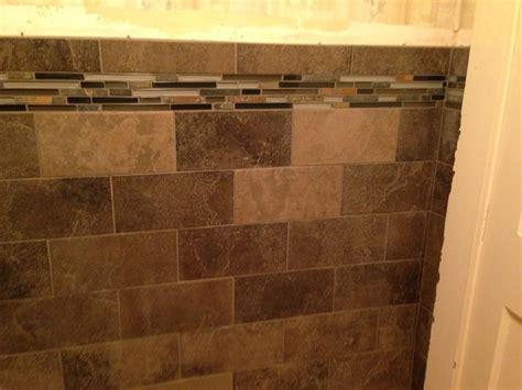 slate subway tile with glass mosaic vanity backsplash and