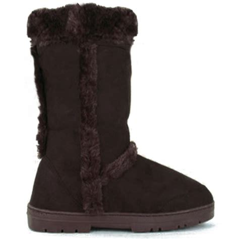 new womens fur lined winter boots flat warm thick rubber sole shoes ebay