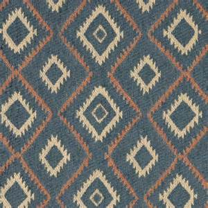 Southwest Style Upholstery Fabric Blue Salmon And Beige Diamond Southwest Style Upholstery