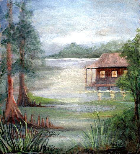 on the bayou fog on the bayou painting by elaine hodges