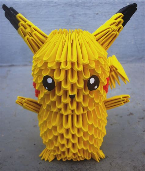How To Make A 3d Origami Pikachu - 25 pikachu 3d origami by sophieekard on deviantart