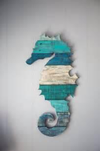 seahorse pallet wood wall art  coastalcreationsnj
