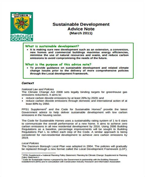 sustainable development plan template 9 advice note templates free sle exle format