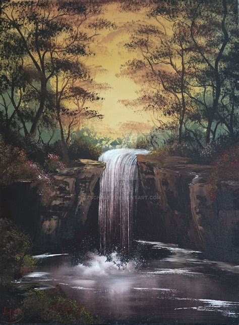 bob ross painting waterfalls lonesome waterfall adapted from bob ross by azschrael on
