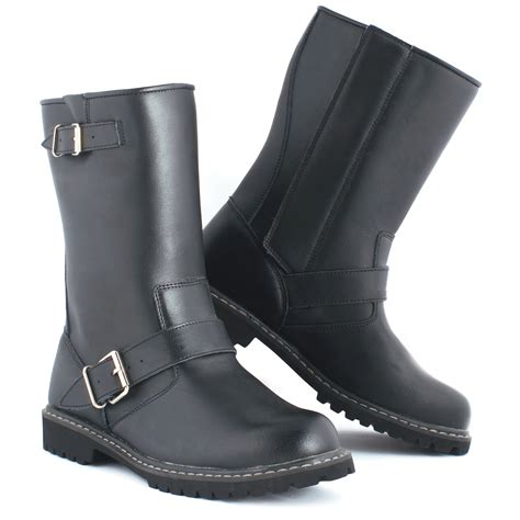 waterproof biker boots black leather motorbike custom waterproof breathable