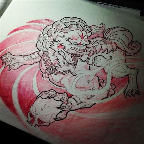 komainu tattoo design foo study 1 completed foo foodog shishi