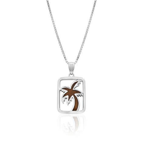 sterling silver koa wood framed palm tree pendant
