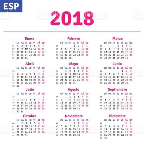 Calendario 2018 Español Espa 241 Ol Calendario 2018 Arte Vectorial De Stock Y M 225 S