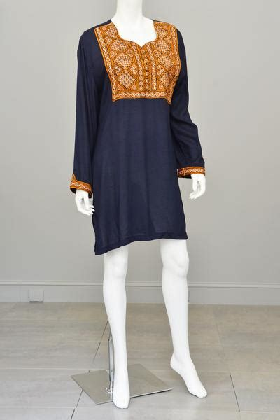one little momma what i wore embroidered tunic and dark denim navy blue gold embroidered mirrors india tunic size l