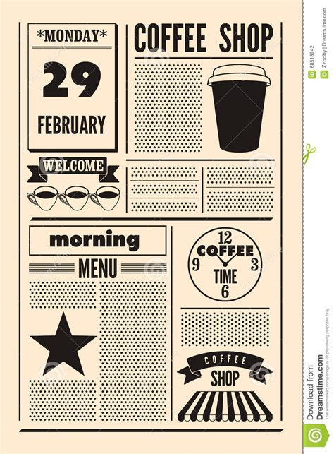 Coffee Shop Typographical Vintage Newspaper Style Poster Or Template Of Menu Retro Vector Newspaper Style Menu Template
