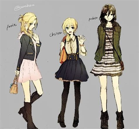 Sweater Attack On Titan Jaket Sweater Snk Keren Murah aot snk christa and mikasa in casual modern day clothing attack on titan 2
