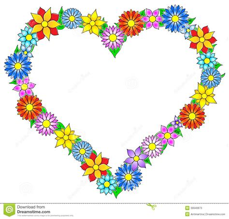 flower border heart stock vector image 39940873