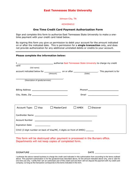 Credit Card Authorization Template In Email by One Time Credit Card Payment Authorization Form In Word