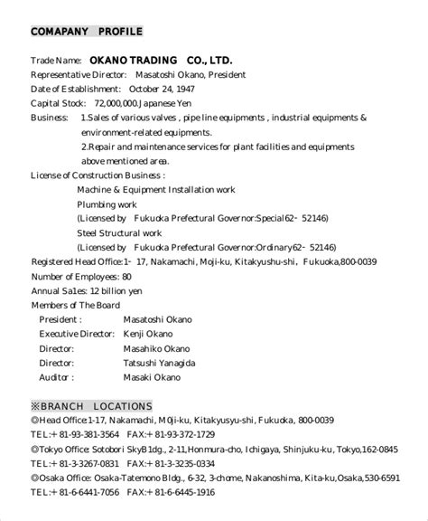 8 Sle Company Profiles Pdf Sle Templates Company Description Template