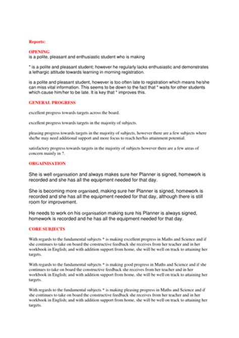 Form Tutor Report Statement By Scottie34 Teaching Resources Tes Tutoring Report Template