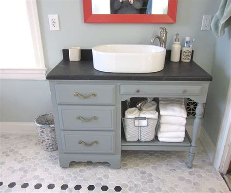 Upcycled Vanity Table Upcycled Desk As Vanity Soapstone Top Turquoise And