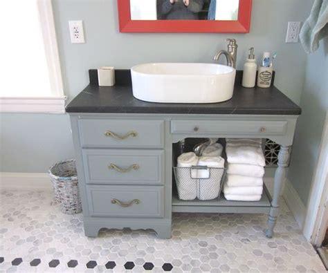 Upcycled Vanity Table Upcycled Desk As Vanity Soapstone Top Turquoise And Orange Bathroom Master Bath Pinterest