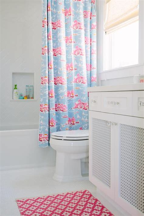 pink and blue bathroom pink kids bathroom with herringbone shower tiles contemporary bathroom