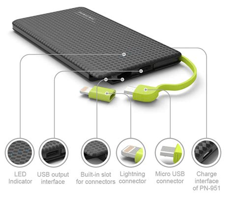 Power Bank One 5000 Polymer pineng pn 952 5000mah lithium polymer power bank black