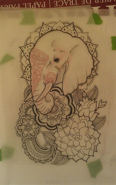 elephant tattoo with flowers elephant ideas central