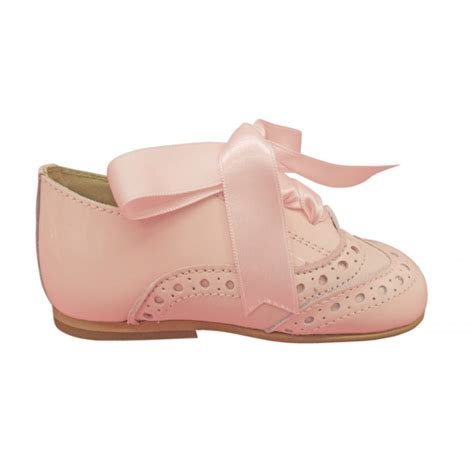 panyno pink leather brogues with lace ties
