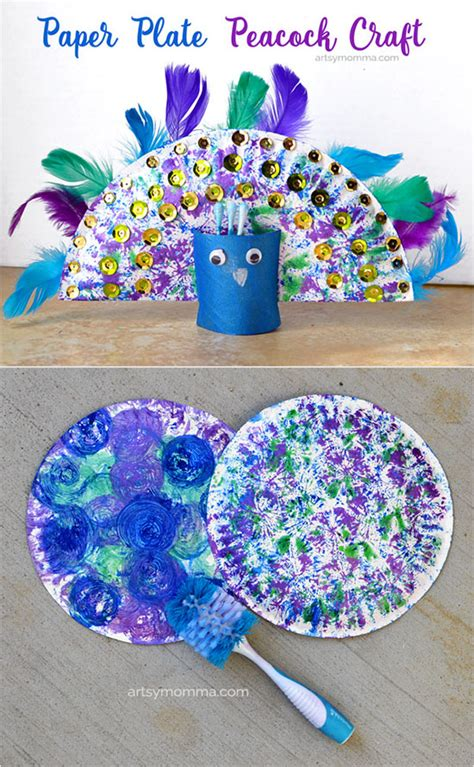 Peacock Paper Plate Craft - pretty peacock craft dish brush painting artsy momma