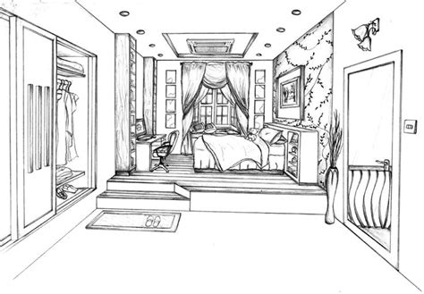 bedroom perspective drawing this is my one point perspective drawing of a designed