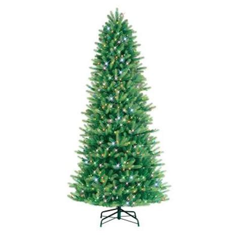 ge 9 ft pre lit led just cut black fir artificial tree with multi color lights