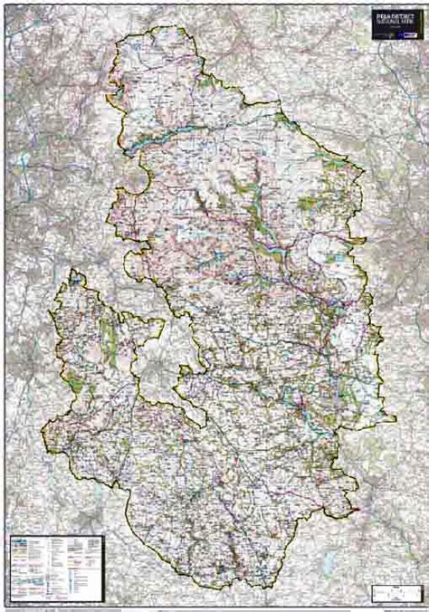 Wall Mural Map Of The World peak district national park wall map