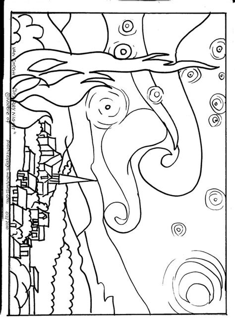 coloring page gogh starry gogh starry appreciation coloring