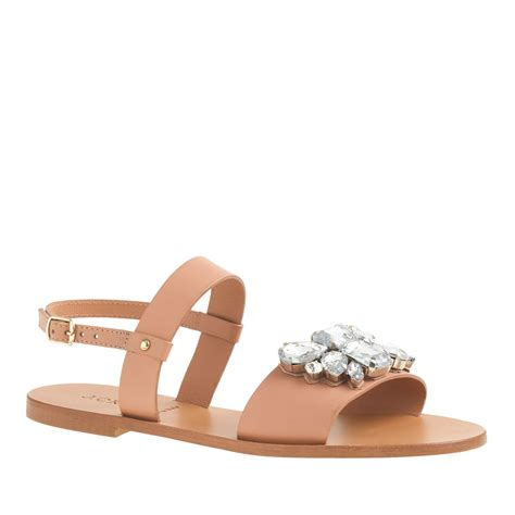 j crew womens sandals j crew camden jeweled sandals in brown lyst