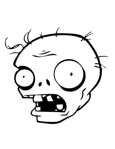 Zombie Head Coloring Page | plants vs zombies zombie head coloring page h m