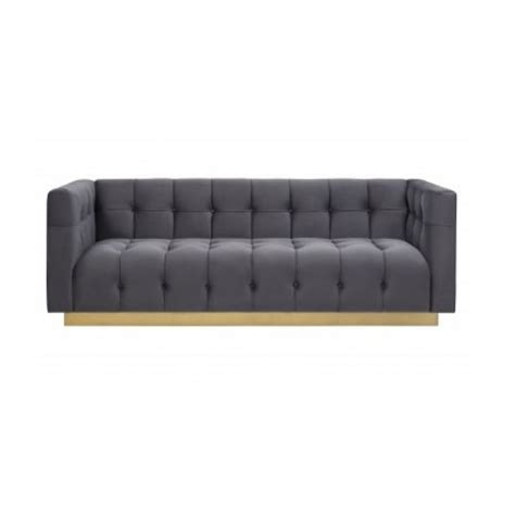 velvet button tufted sofa grey velvet button tufted sofa gold base