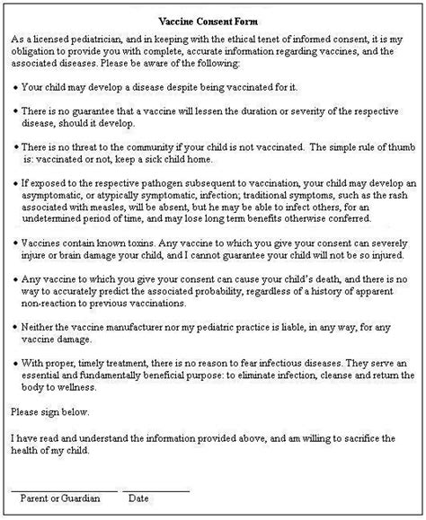 Parents Consent Letter For Vaccination If Doctors Offered Truthful Vaccine Consent Forms No Sane Would Get Child Vaccinated