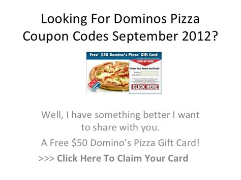 Dominos Gift Card Code - dominos pizza coupon codes september 2012