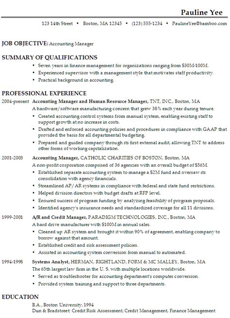 resume exle for accounting position sle resume for an accounting manager susan ireland