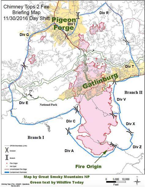 gatlinburg map map of the chimney tops 2 at gatlinburg tn wildfire today