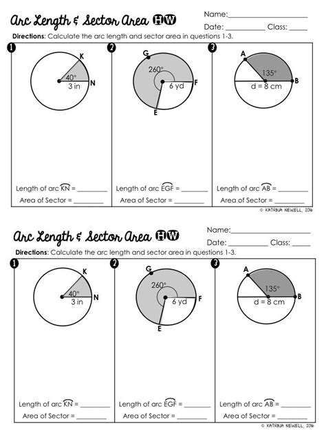 printable math worksheets arc length and area of a sector sector area and arc length foldable for the geometry