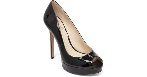 Vince Camuto Lottie Peep Toe by Vince Camuto Peep Toe Pumps Lorim Patent In Black Lyst