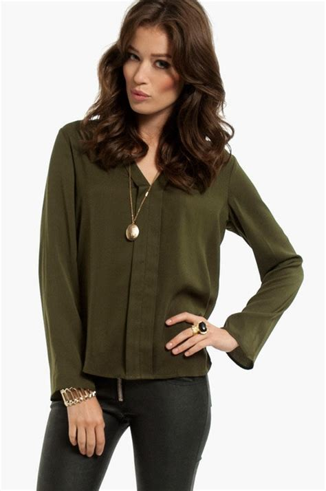 Oliv Blouse by Olive Green Blouse Closet
